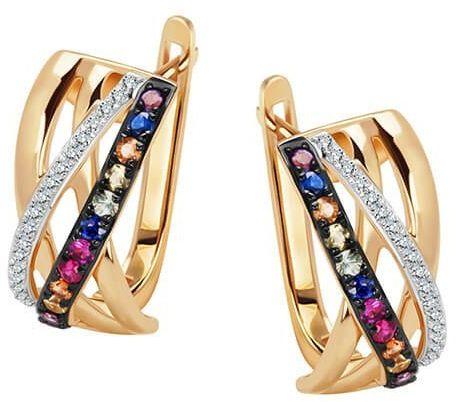 Złote kolczyki - Diament Szafir Ametyst Rubin