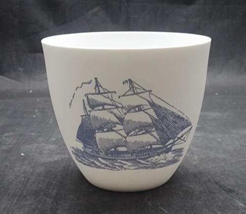 Light-Glow kolekcja morska maszynka do strzyżenia herbaty świecznik, porcelana, biały/niebieski, 9,5 x 8 x 9 cm