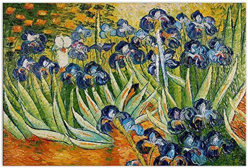 Arte dal Mondo Iris ręcznie wykonany obraz olejny reprodukcja zamontowana na estetycznej ramie rozciągającej, płótno, wielokolorowa, 90 x 60 x 2 cm