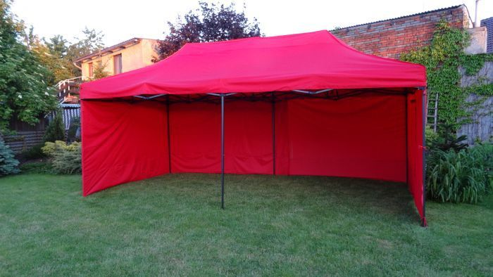 Namiot ogrodowy party DELUXE nożycowy + ściana boczna - 3 x 6 m czerwony