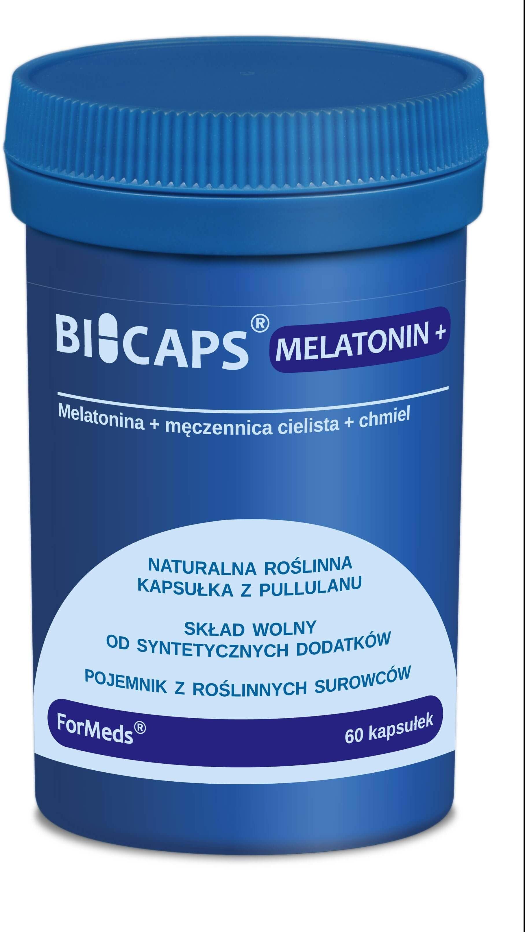 ForMeds BICAPS MELATONIN+ (Melatonina z ekstraktem z Męczennicy cielistej i szyszek chmielu) 60 Kapsułek