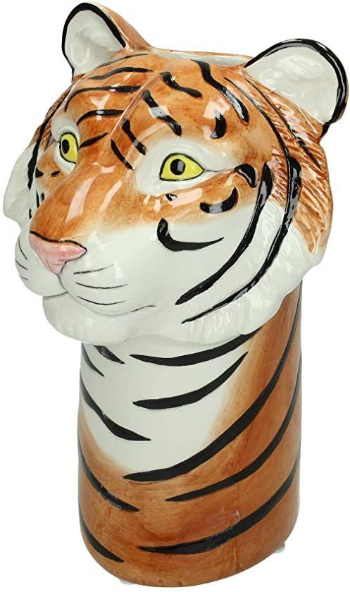 Wazon tygrys  drobna kamionka  brązowy  14 x 15 x 23 cm