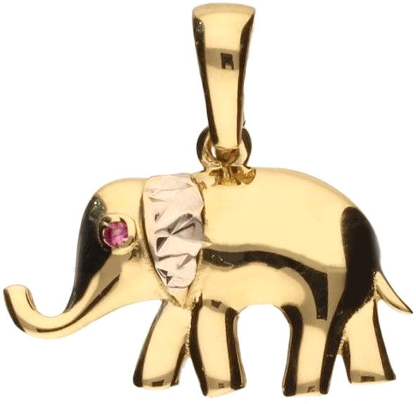 Złota przywieszka 585 słonik z różową cyrkonią