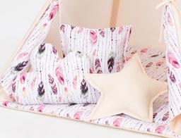 MAMO-TATO Komplet poduszek 3 szt. Beż / piórka burgund