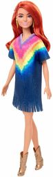 Lalka Barbie Fashionistas #141 z długimi czerwonymi włosami w tie-dye z frędzlami złote buty i kolczyki, zabawka dla dzieci w wieku od 3 do 8 lat