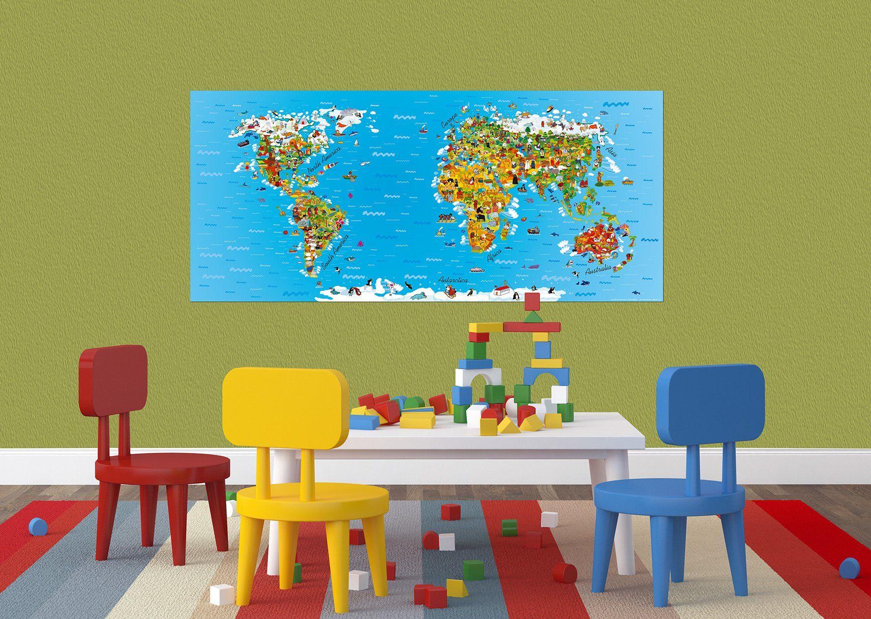 AG Design FTG 0931 mapa świata dla dzieci, papierowa fototapeta do pokoju dziecięcego  202 x 90 cm  1 część, papier, wielokolorowa, 0,1 x 202 x 90 cm