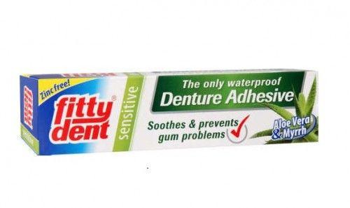 Klej do mocowania protez zębowych Fittydent Sensitive 40g z żelem z aloesu oraz mirrą