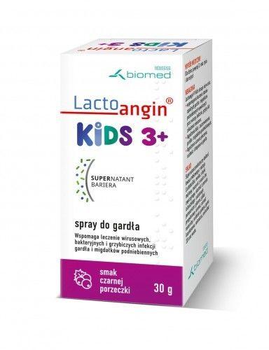 LactoanginKIDS - spray do gardła smak porzeczkowy. Wspomaga leczenie wirusowych, bakteryjnych i grzybiczych infekcji gardła i migdałków podniebiennych.