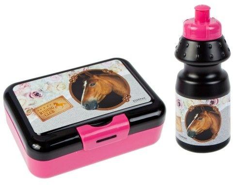 Zestaw pojemnik śniadaniowy z Bidonem na napój Konie Śniadaniówka dla dzieci
