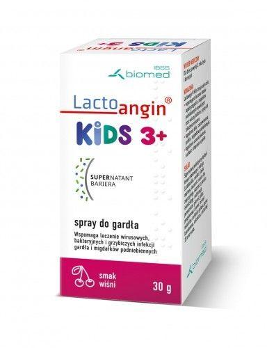LactoanginKIDS - spray do gardła smak wiśniowy. Wspomaga leczenie wirusowych, bakteryjnych i grzybiczych infekcji gardła i migdałków podniebiennych.