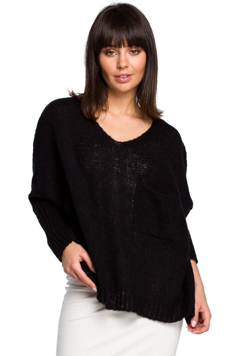 BK018 Luźny sweter z kieszenią - czarny