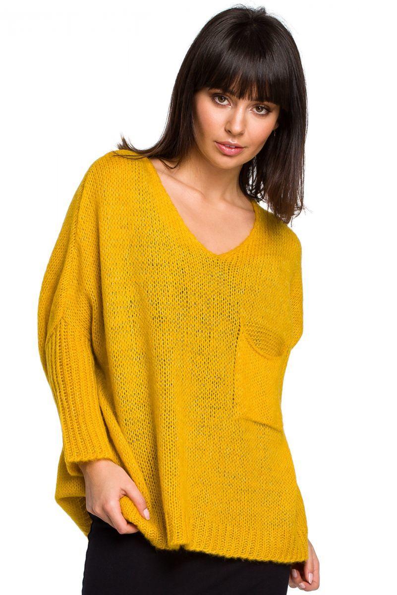 BK018 Luźny sweter z kieszenią - miodowy