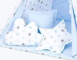 MAMO-TATO Komplet poduszek 3 szt. Gwiazdki szare i niebieskie duże / jasny błękit