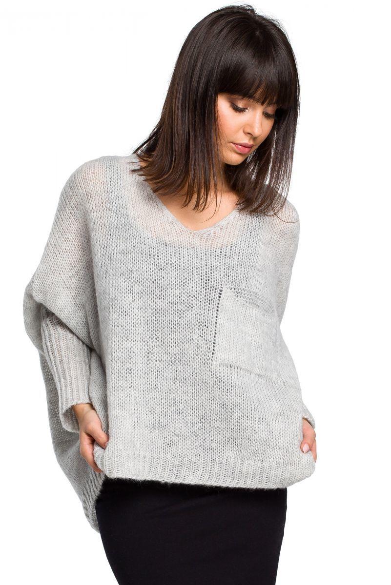 BK018 Luźny sweter z kieszenią - popielaty