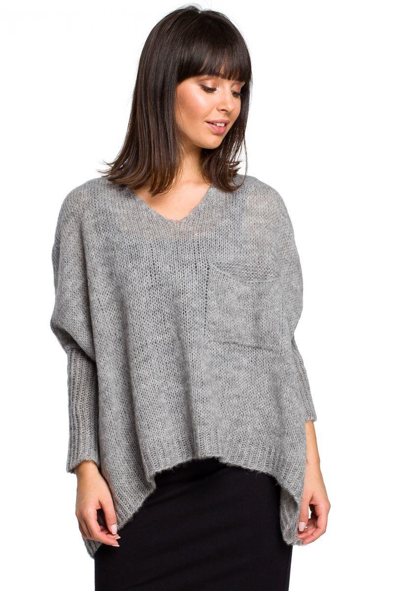 BK018 Luźny sweter z kieszenią - szary