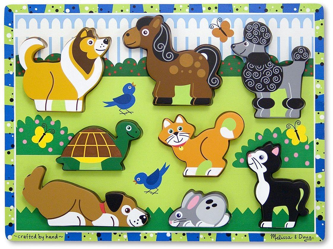 Melissa & Doug Puzzle dla zwierząt domowych łamigłówki drewniana zabawka 2+ Prezent dla chłopca lub dziewczynki