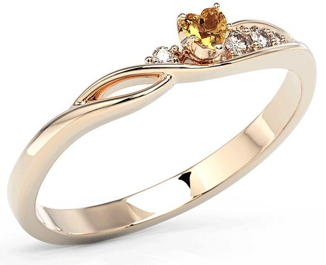 Pierścionek z różowego złota z topazem swarovski honey i cyrkoniami bp-81p-top-hon/c