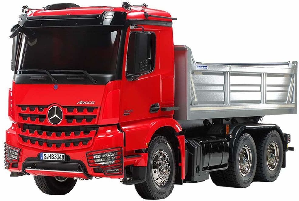 TAMIYA 56361 Mercedes-Benz 1:14 MB Arocs 3348 czerwony/srebrny, zestaw do montażu, ciężarówka RC, zdalnie sterowany, samochód ciężarowy, zabawka konstrukcyjna, budowa modeli, majsterkowanie