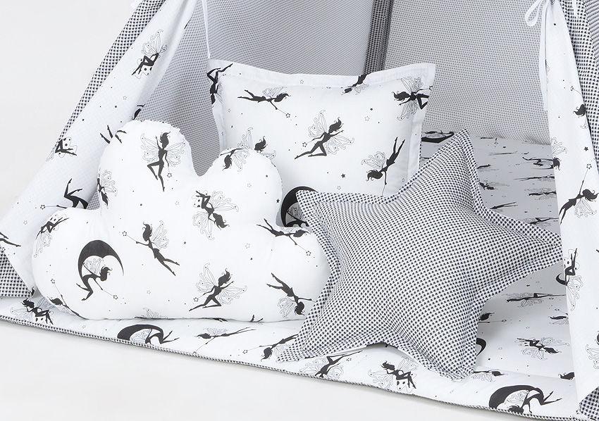 MAMO-TATO Komplet poduszek 3 szt. Pepitka czarna / wróżki czarne