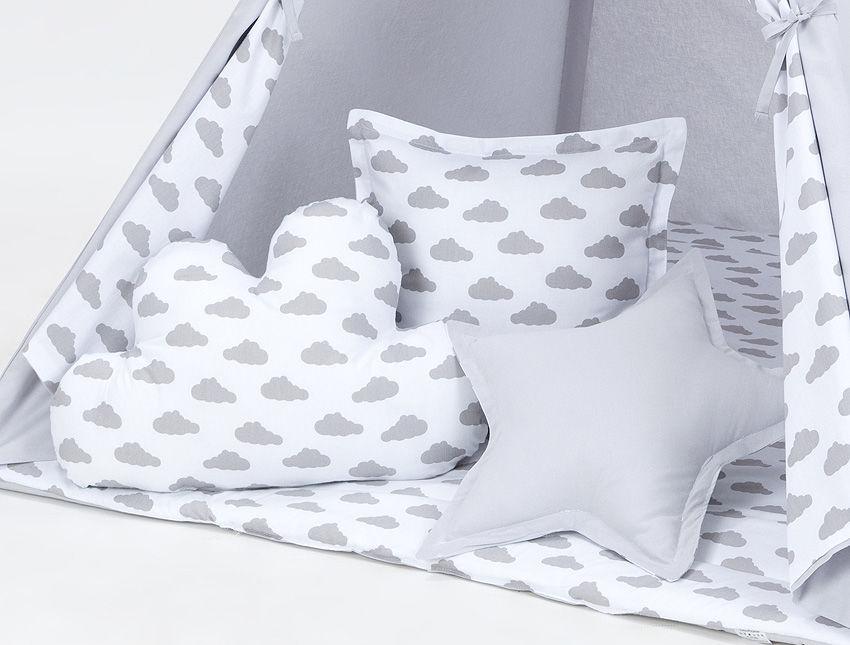 MAMO-TATO Komplet poduszek 3 szt. Popiel / chmurki szare na bieli