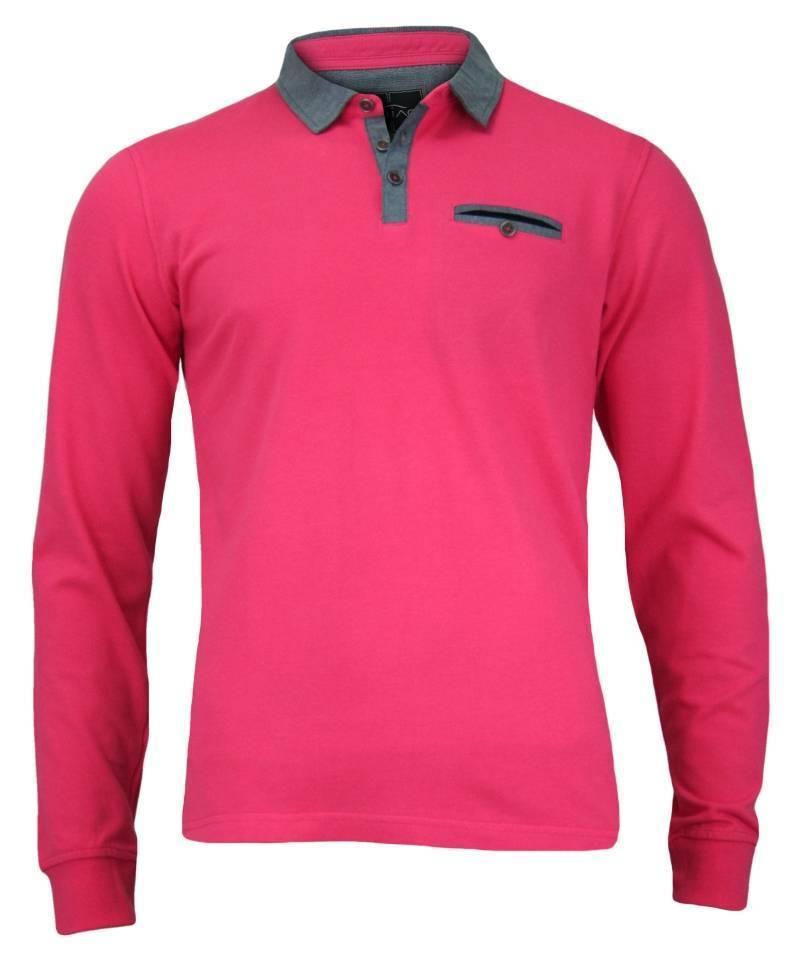 Różowa Koszulka Polo, Długi Rękaw, Longsleeve z Kołnierzykiem - 100% BAWEŁNA, Męska TSCHIAOM3301PINKlong