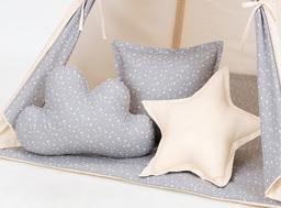 MAMO-TATO Komplet poduszek 3 szt. Beż / mini gwiazdki białe na szarym