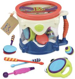 B. toys by Battat - B. Drumroll - zestaw perkusji do zabawy (zawiera 7 instrumentów perkusyjnych dla dzieci)