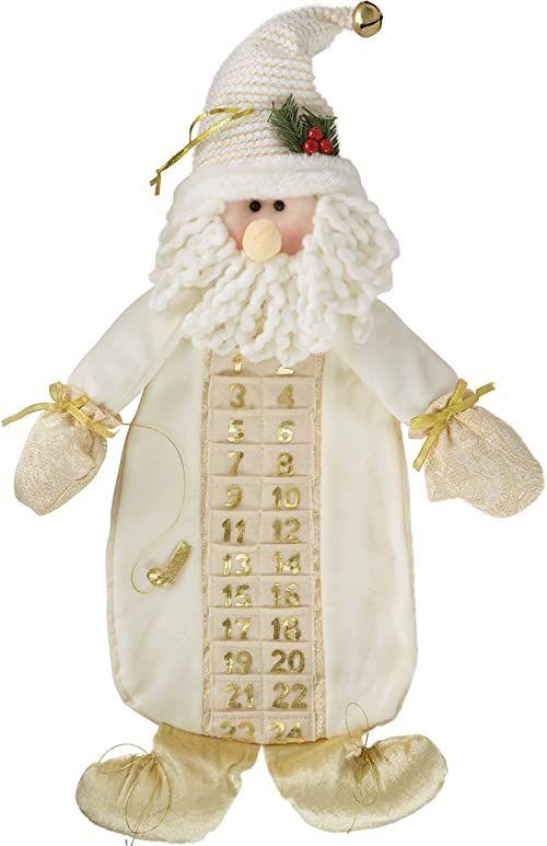 WeRChristmas Kalendarz adwentowy, wzór duży Święty Mikołaj, 66 cm, dekoracja bożonarodzeniowa, kremowo-złoty