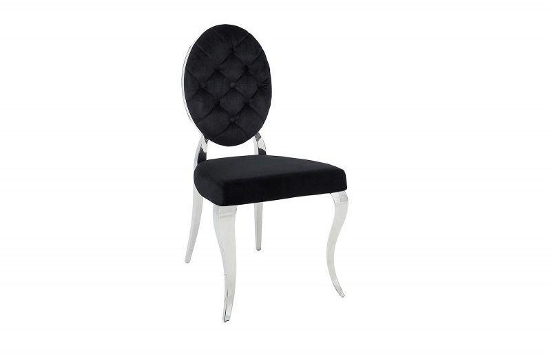 Krzesło New Barok czarne z pikowaniem