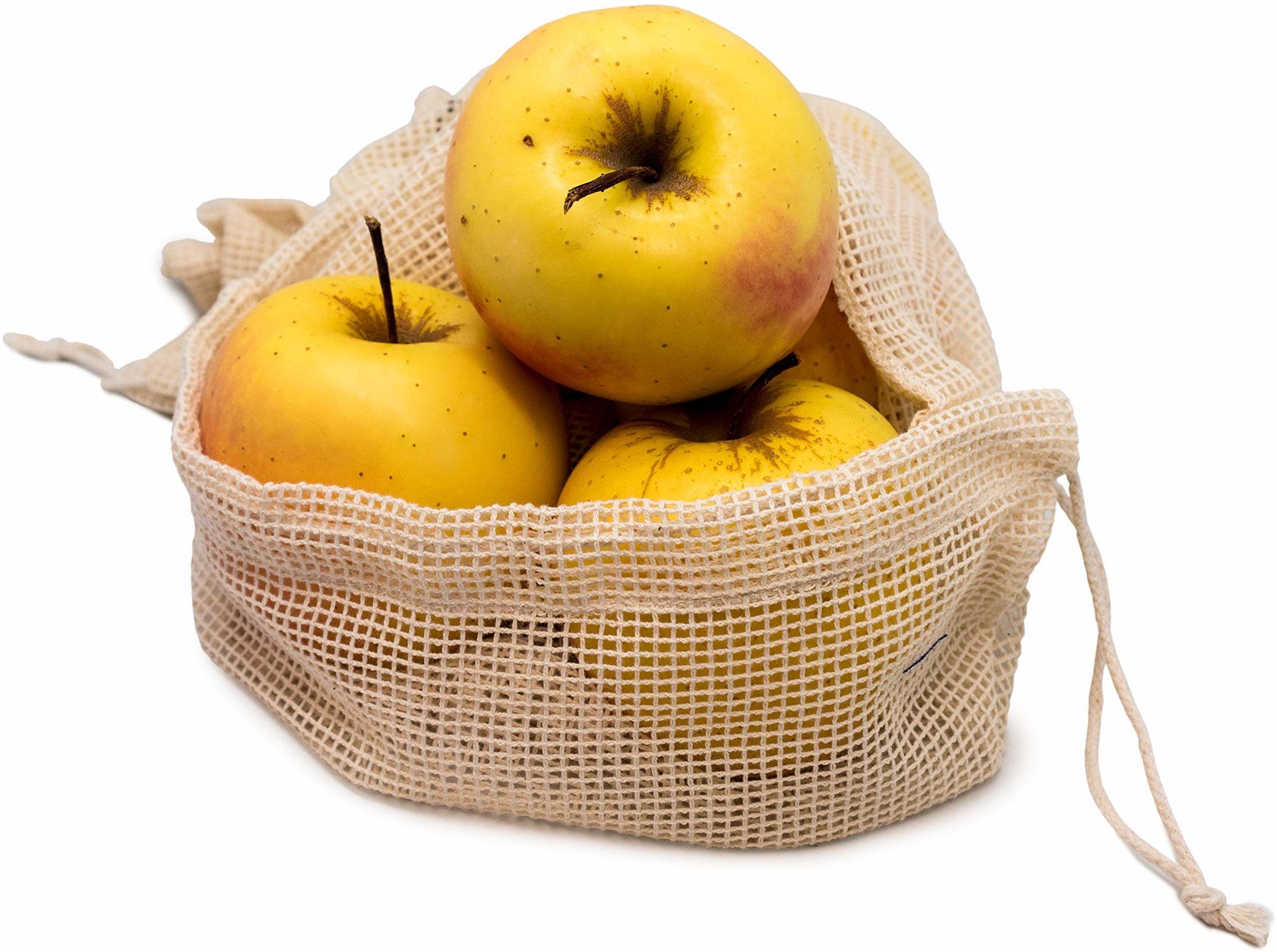 Nerthus FIH 674 674 zestaw toreb na żywność wielokrotnego użytku, na świeże produkty, owoce i warzywa, 3 rozmiary, 100% bawełna organiczna, 3 rozmiary