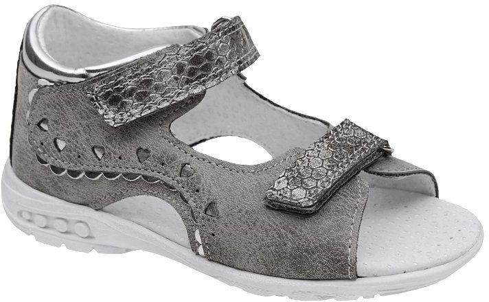 Sandałki dla dziewczynki KORNECKI 4735 Popielate Szare Srebrne