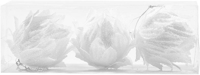 3 białe różyczki 7,5cm kpl. 3 szt.