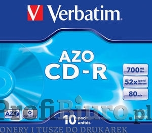 Płyty Verbatim CD-R 700MB x52 - Jewel Case AZO Crystal- 10szt.