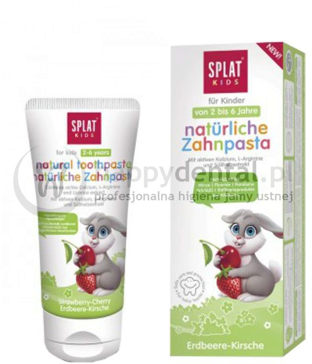 SPLAT KIDS 2-6 ZAJĄC 50ml (zielona) - naturalna pasta do zębów o smaku truskawkowo-wiśniowym dla dzieci w wieku 2-6 lat