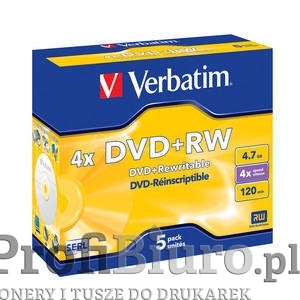 Płyty Verbatim DVD+RW 4.7GB x4 - Jewel Case - 5szt.