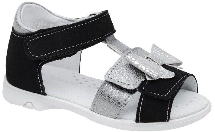 Sandałki dla dziewczynki KORNECKI 6309 Czarne Srebrne Brokat