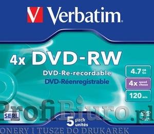 Płyty Verbatim DVD-RW 4.7GB x4 - Jewel Case Matt Silve - 5szt.