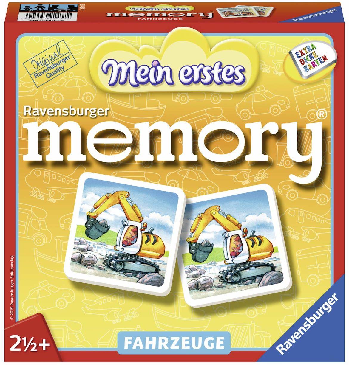 Ravensburger 21437  Mój pierwszy pojazd z pamięcią memory, klasyk gier dla maluchów, dziecinnie prosty dla wszystkich fanów pojazdów od 2 roku życia