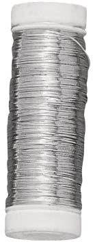 Rayher 2403600 srebrny drut z rdzeniem miedzianym, średnica 0,25 mm, szpula z tworzywa sztucznego 100 m, nie zawiera niklu, srebrny drut do majsterkowania, drut wiążący, drut jubilerski