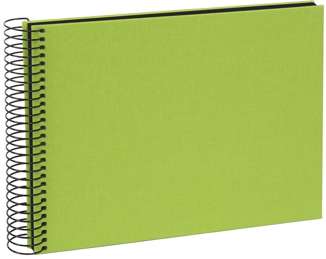 goldbuch 20962 album spiralny Bella Vista, album fotograficzny 24 x 17 cm, album fotograficzny z 40 czarnymi stronami, album na wspomnienia z lnu, fotoksiążka do wklejania, zielony