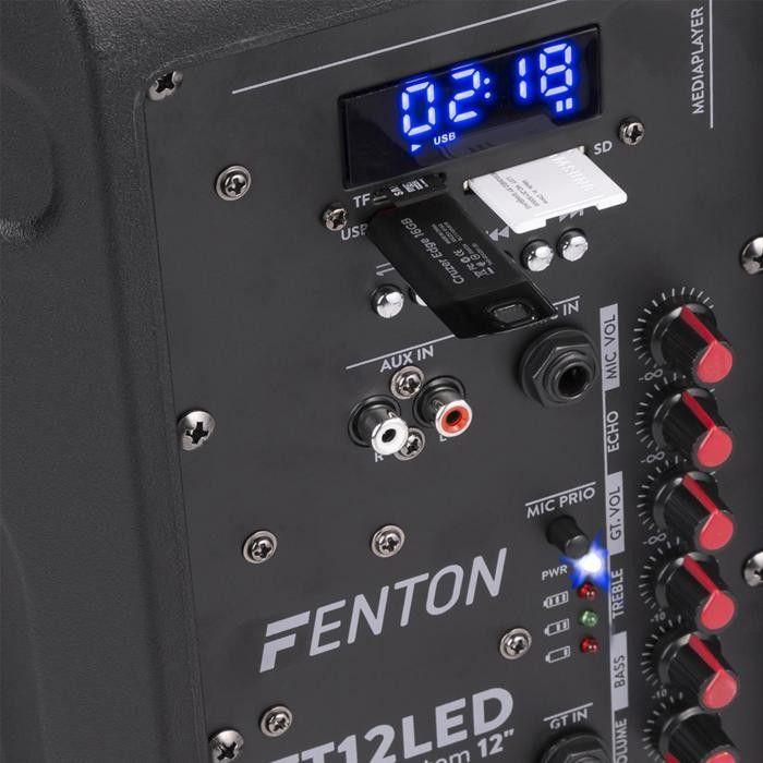 "Fenton FT12LED kolumna aktywna 12"" 700W BT/USB/SD/AUX-In LED baterie trolley"