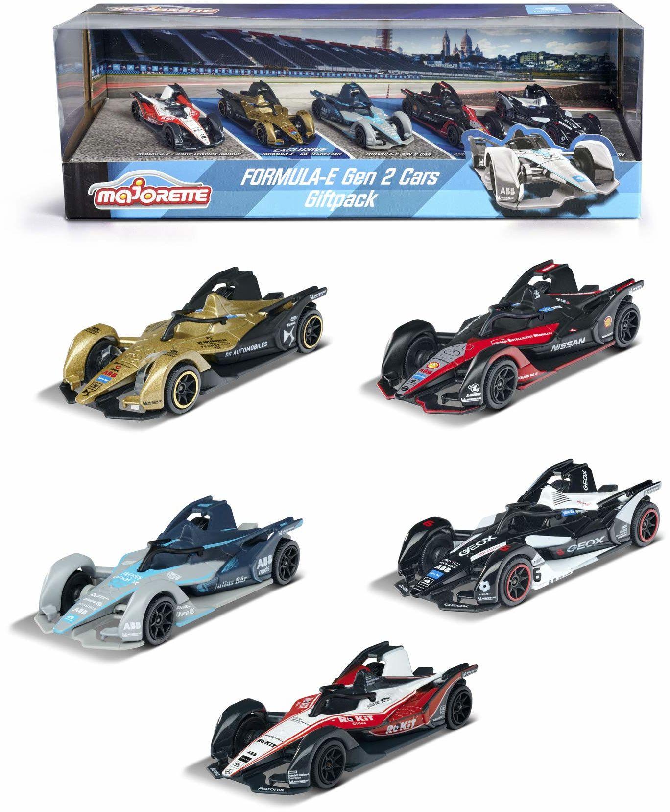 Majorette Formula E GEN2 Car, zestaw 5 sztuk w opakowaniu na prezent, samochody wyścigowe, samochody zabawkowe, samochód sportowy, opony gumowe, 2 ekskluzywne samochody, skala 1:64, 7,5 cm, od 3 lat