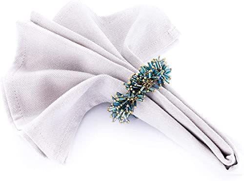 LegendArte lh-033 allacciatovaglioli pierścienie serwetki biżuteria, metal/szkło, niebiesko-zielony/złoty, 14 x 14 x 7 cm, 4 sztuki