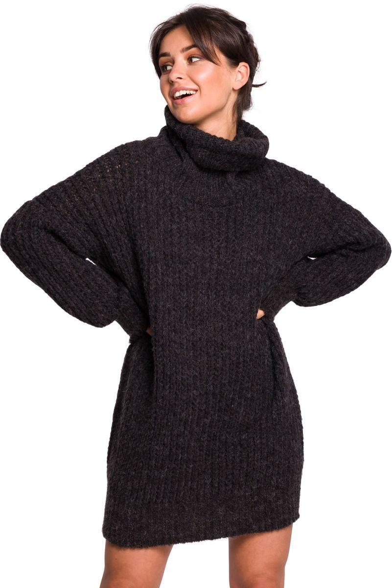 BK030 Długi sweter z golfem - antracyt