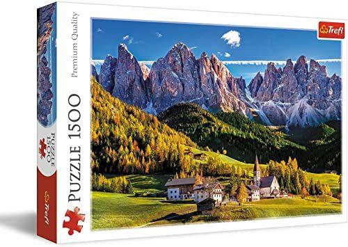 Trefl Dolina Val di Funes, Dolomity, Włochy Puzzle 1500 Elementów o Wysokiej Jakości Nadruku dla Dorosłych i Dzieci od 12 lat