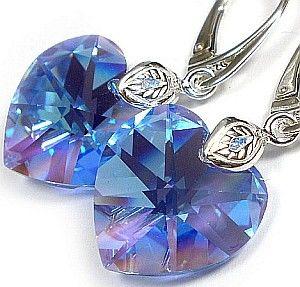 SWAROVSKI duże serca kolczyki niebieskie