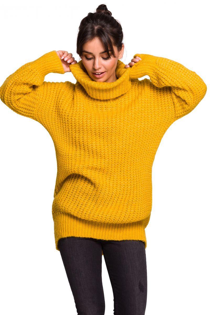 BK030 Długi sweter z golfem - miodowy