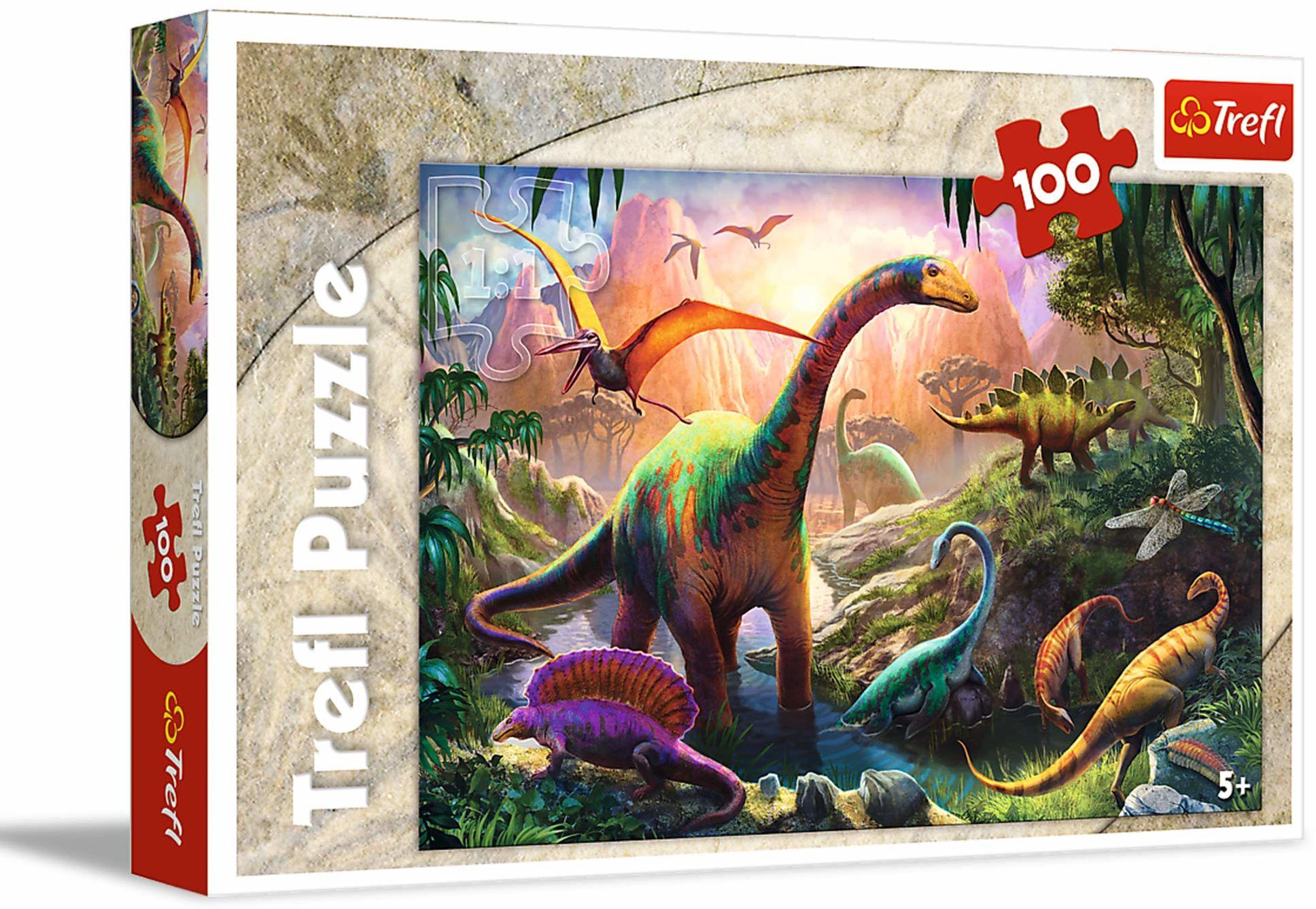 Trefl Świat Dinozaurów Puzzle 100 Elementów o Wysokiej Jakości Nadruku dla Dzieci od 5 lat