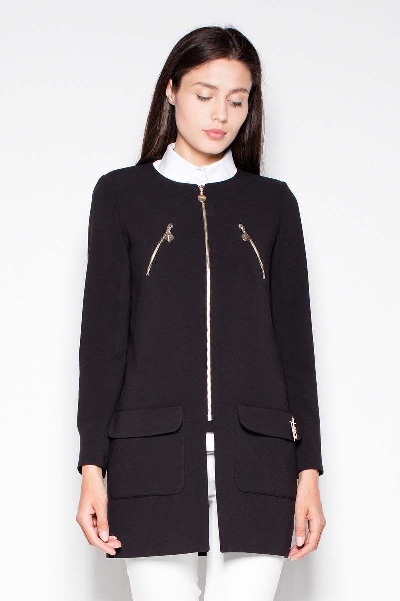 Czarny prosty płaszcz- żakiet z suwakami