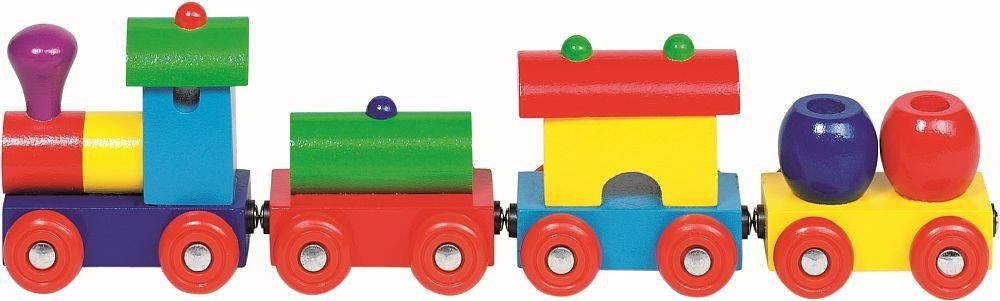 Ciuchcia towarowa, pociąg drewniany z wagonikami, 55974 - Goki, zabawki dla chłopców